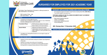 BURSARIES FOR EMPLOYED, UNQUALIFIED AND UNDERQUALIFIED EDUCATORS FOR 2021 ACADEMIC YEAR