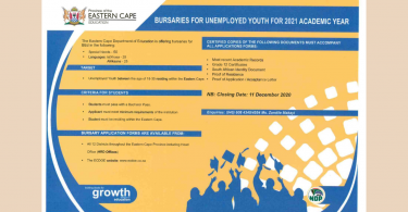 BURSARIES FOR UNEMPLOYED YOUTH FOR THE 2021 ACADEMIC YEAR